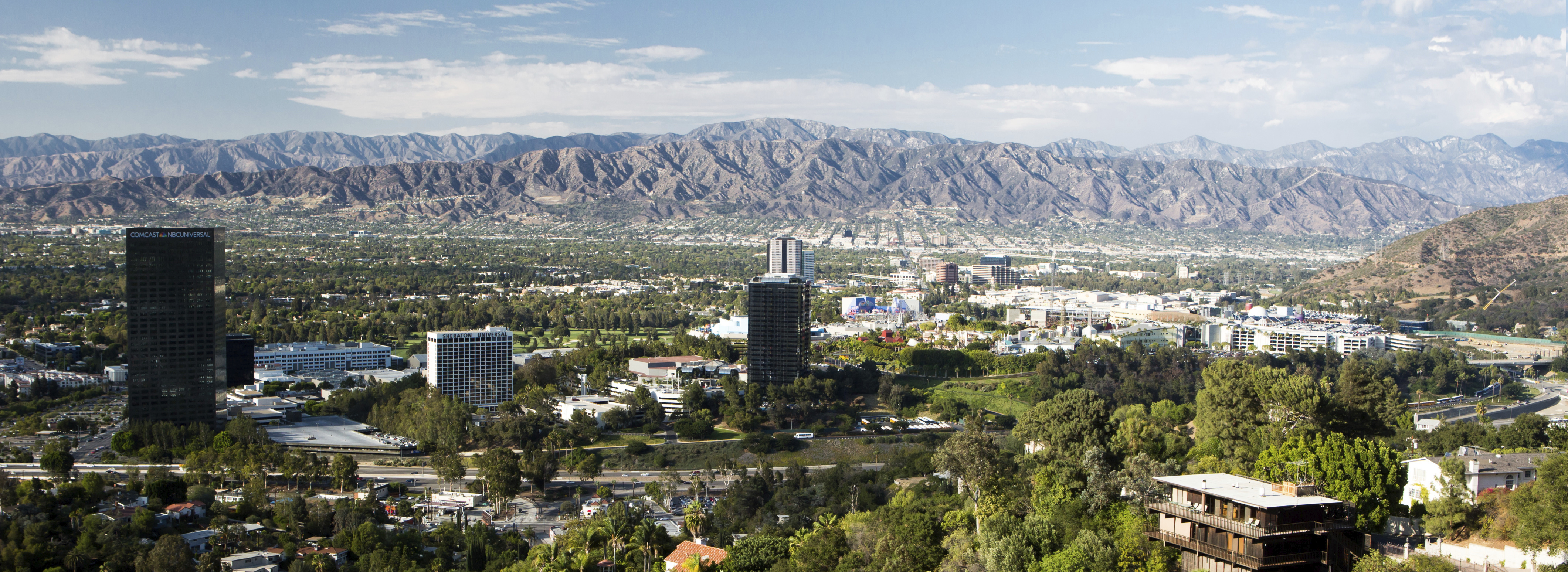 A view over Burbank on a hot clear summer's day in Los Angeles, California, USA